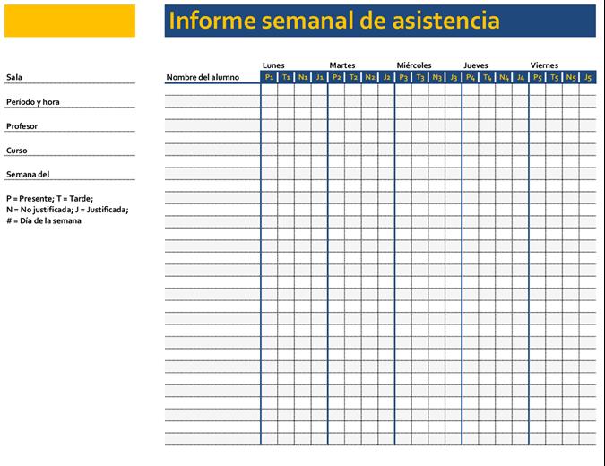 Registro de asistencia a clase semanal (simple)