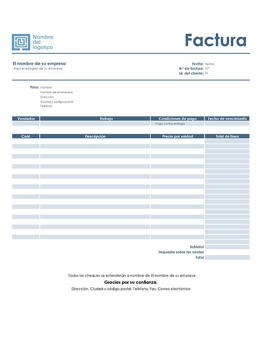 Factura de servicio (diseño azul sencillo)