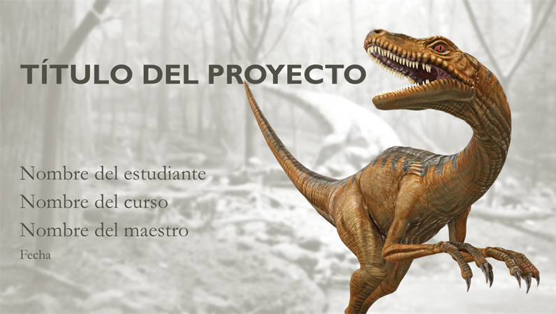 Presentación de informes escolares con modelos de dinosaurios
