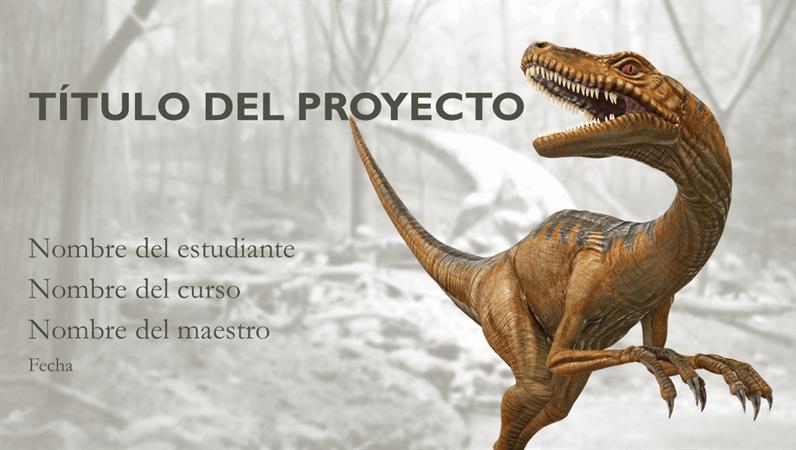 Presentación de informes educativos con modelos de dinosaurio
