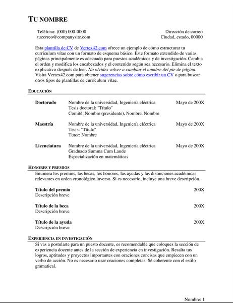 CV completo (currículum vítae)