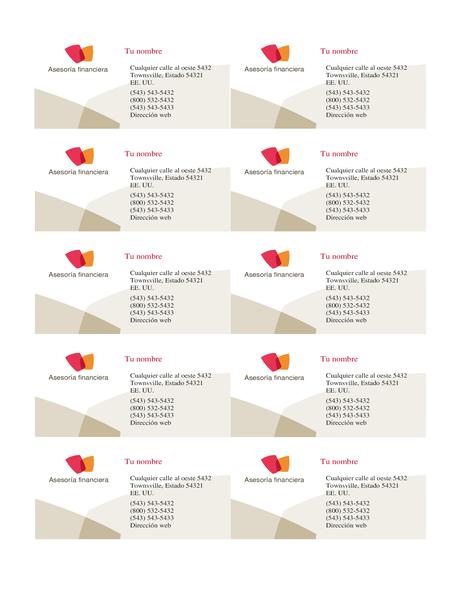 Tarjeta para empresa financiera (10 por página)