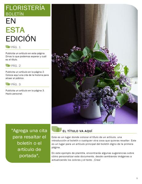Boletín de floristería
