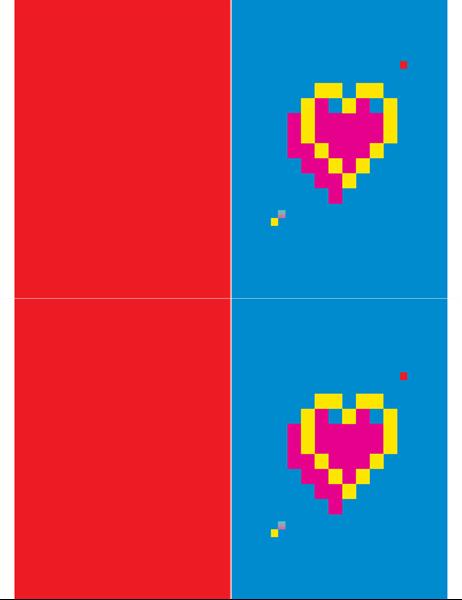 Tarjeta de San Valentín con corazón pixelado