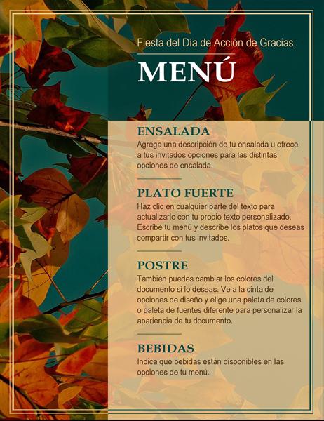 Menú de Acción de Gracias con hojas de otoño