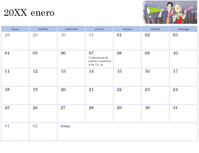 Calendario académico ilustrado