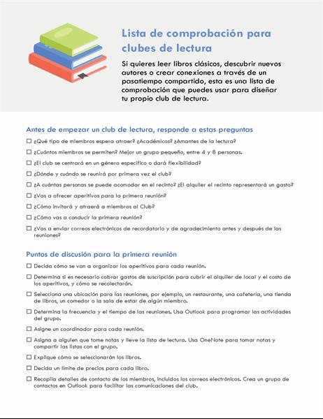 Lista de comprobación para clubes de lectura