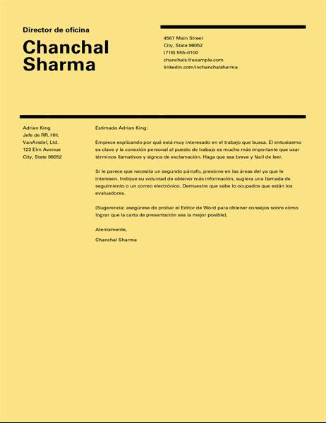 Carta de presentación de diseño suizo