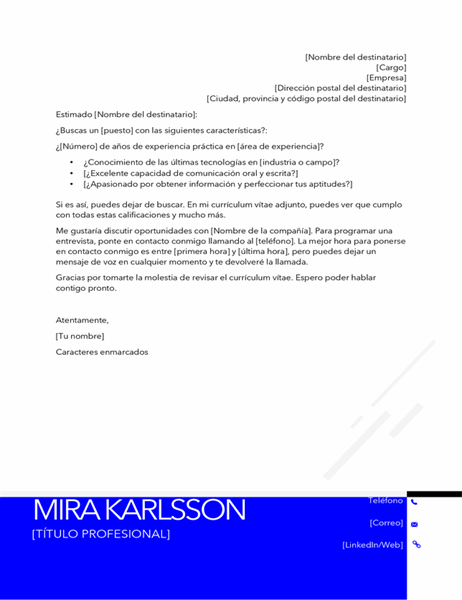 Carta de presentación moderna e invertida