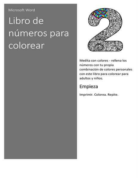 Libro de números para colorear