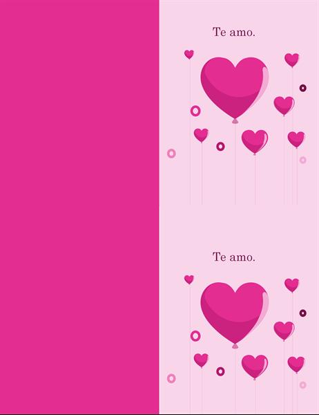 Tarjeta de San Valentín con globos con forma de corazón