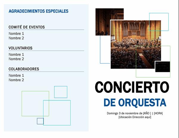 Programa de concierto de orquesta