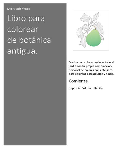 Libro para colorear de botánica antigua.