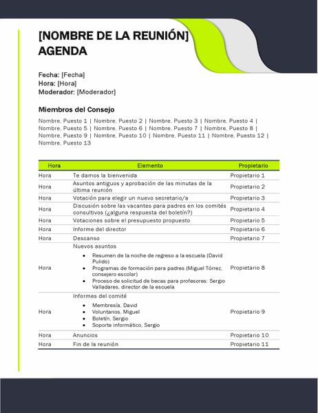 Agenda de la reunión educativa
