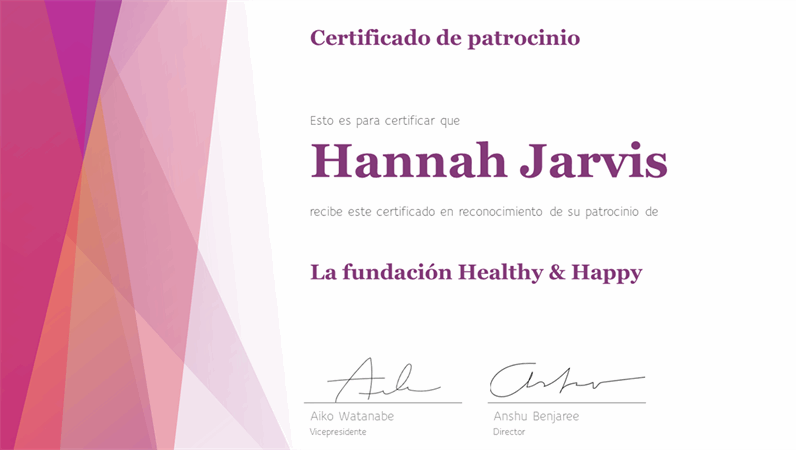 Certificado de agradecimiento con diseño colorido