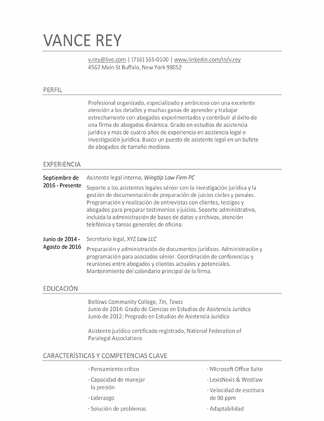 Currículum vítae de asistente legal