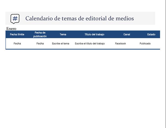 Calendario de temas de editorial de medios sociales