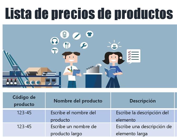 Lista de precios de productos azul
