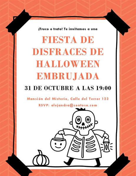 Invitación al Halloween de esqueletos