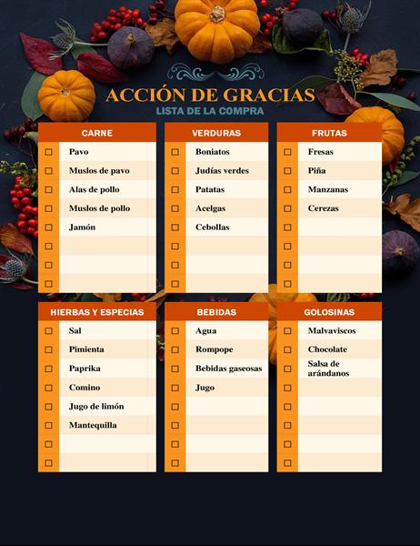 Lista de la compra para Acción de Gracias Nature's bounty