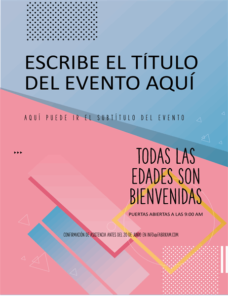 Folleto de eventos en bloques