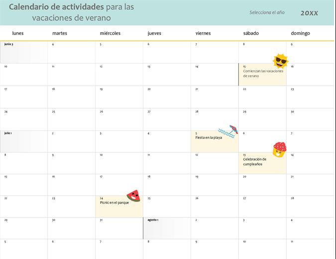 Calendario de vacaciones de verano