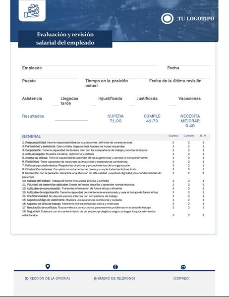 Evaluación del empleado y revisión del salario para pequeña empresa