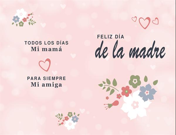 Tarjeta del Día de la madre con diseño en tono rosado