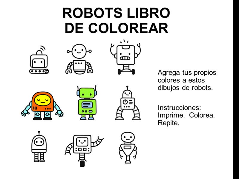 Libro para colorear con diseño de robots
