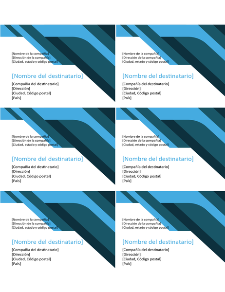 Etiquetas con ondulaciones y ángulos (6 por página)