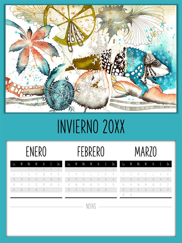 Calendario trimestral con diseño de camaleón