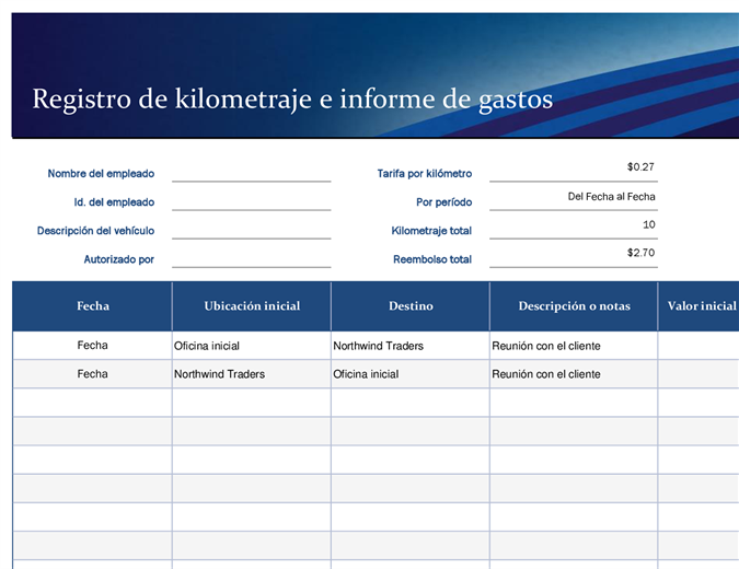 Registro azul de kilometraje e informe de gastos