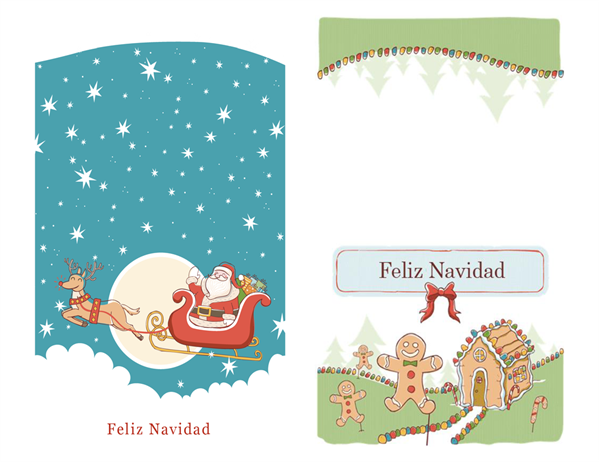 Tarjetas de Navidad de Papá Noel y galletas de jengibre