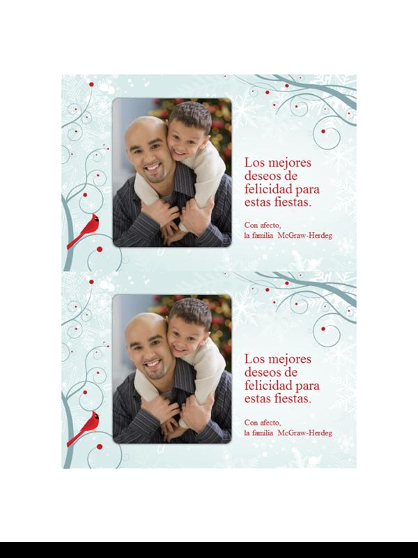 Tarjetas fotográficas navideñas de copo de nieve (dos por página)