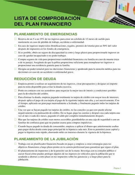 Lista de comprobación del plan financiero