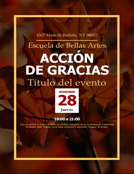 Prospecto de Acción de Gracias con hojas de otoño