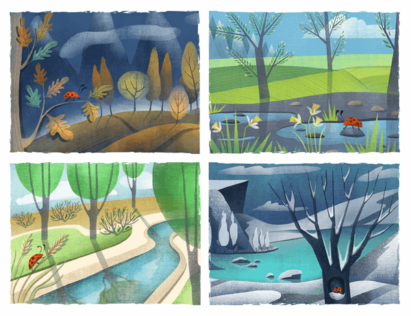Tarjetas postales de mariquitas