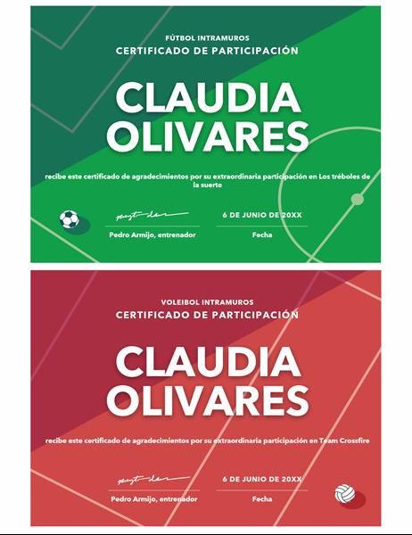 Certificado de premios para cuatro deportes