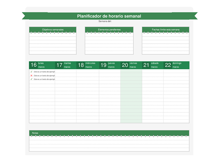Planificador de programación semanal