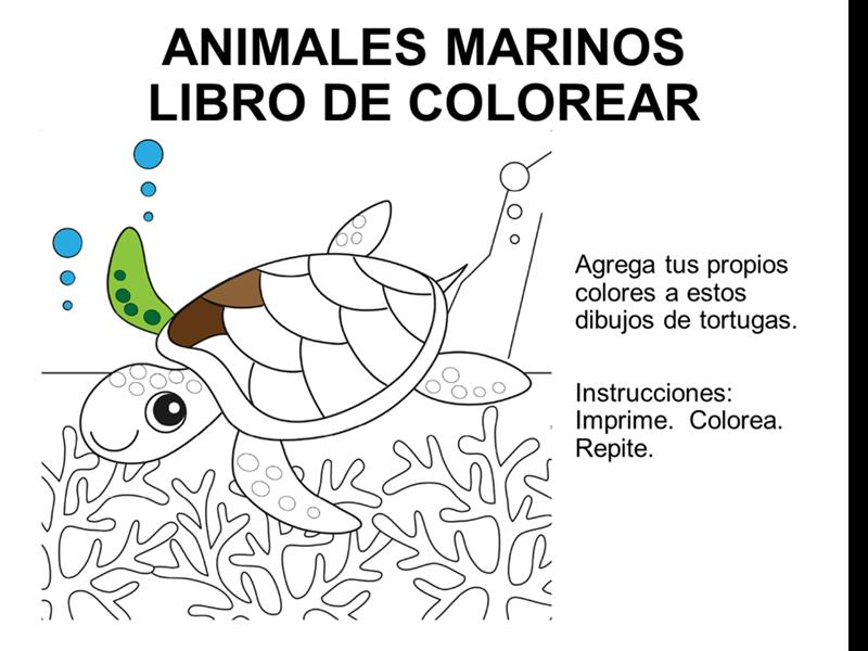 Libro para colorear con diseño de animales marinos