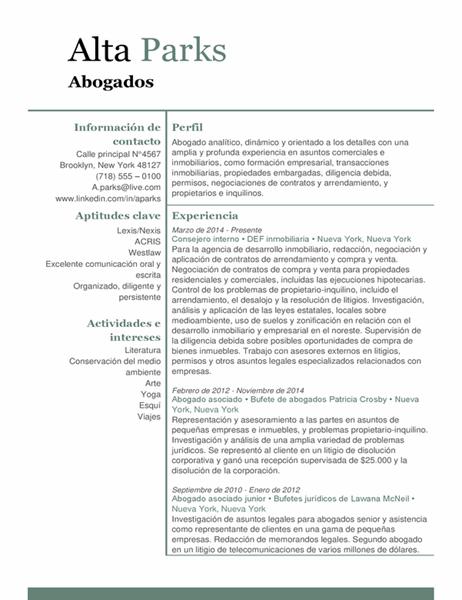 Currículum vítae de abogado