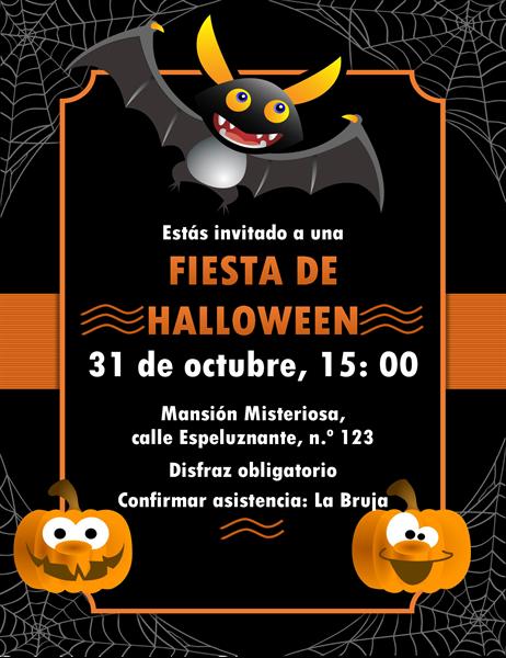 Invitación al Halloween de murciélagos