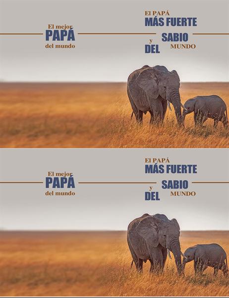 Tarjeta del Día del padre con un elefante
