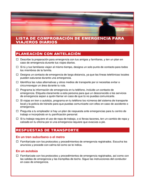 Lista de comprobación de emergencia para viajeros diarios