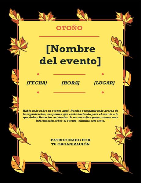 Prospecto de evento con hojas de otoño