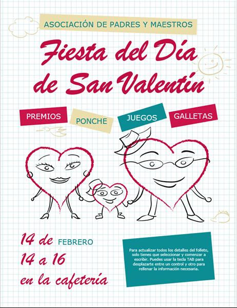 Folleto de San Valentín con corazones animados