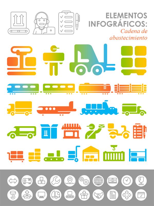 Imágenes infográficas de la cadena de suministros
