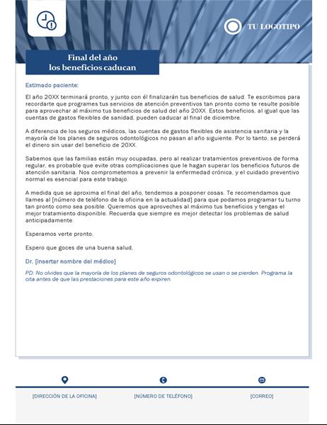 Carta de caducidad de beneficios, asistencia médica