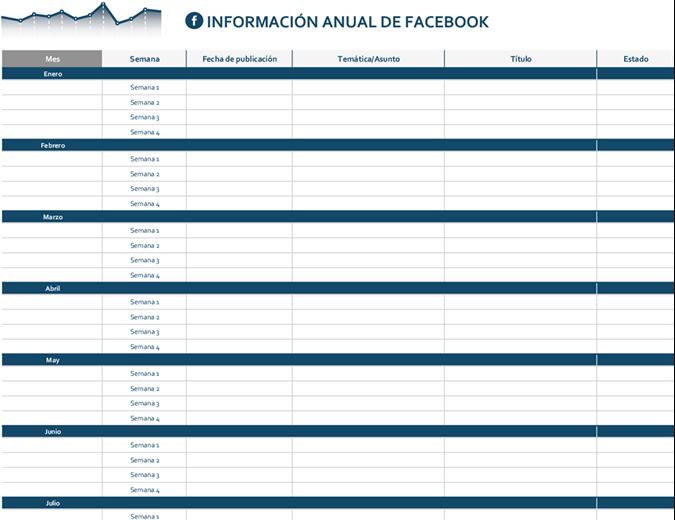 Calendario editorial de plataformas de redes sociales