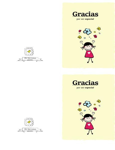 Tarjeta de agradecimiento con un dibujo de una niña